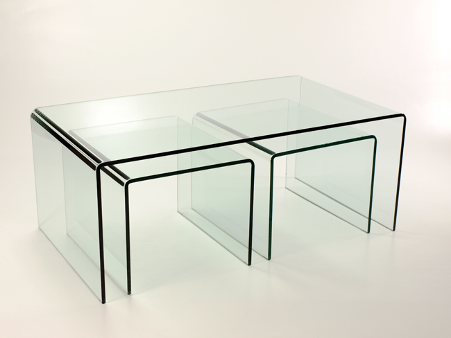 New Bent Curved Glass Coffee Table 2 Side Tables Nest Ebay