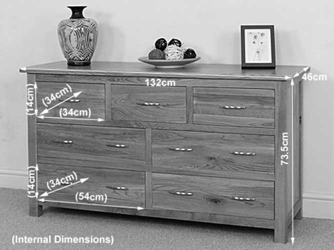oak wood 3 4 chest of 7 drawers unit wooden bedroom furniture ebay