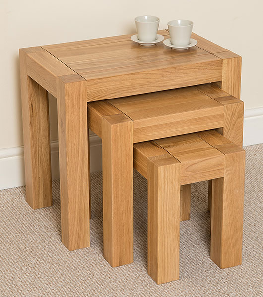 Kuba Chunky Solid Oak Wood Nest Of 3 Tables Living Room