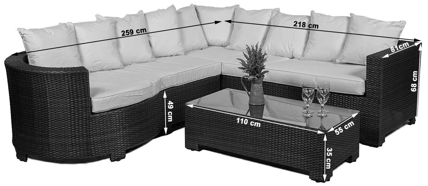 dimensions - Garden Furniture Corner Sofa