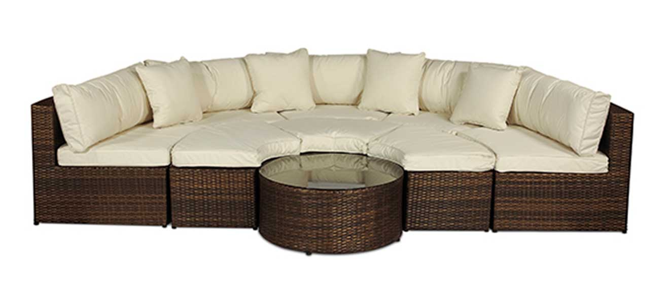Garden Furniture Ni monaco round sofa set outdoor rattan garden furniture with coffee