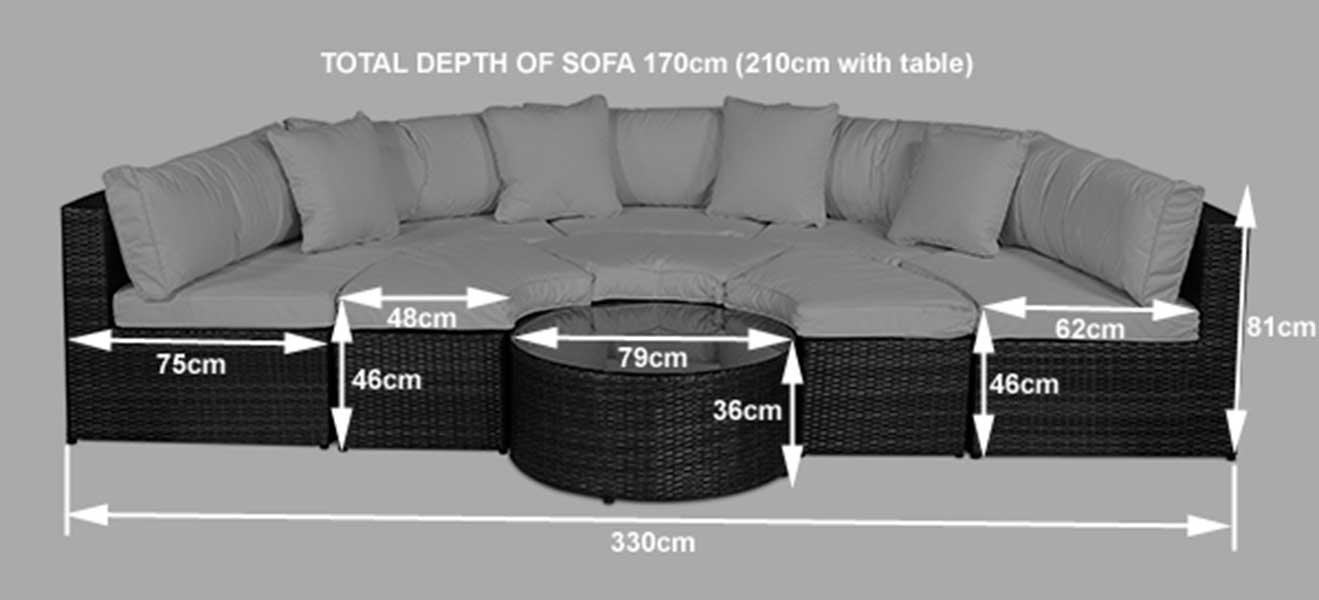 DimensionsMonaco Round Sofa Set Outdoor Rattan Garden Furniture with Coffee  . Rattan Garden Corner Sofa Ebay. Home Design Ideas