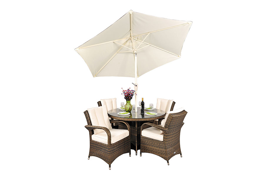 Arizona Rattan 4 Seat Square Dining Set