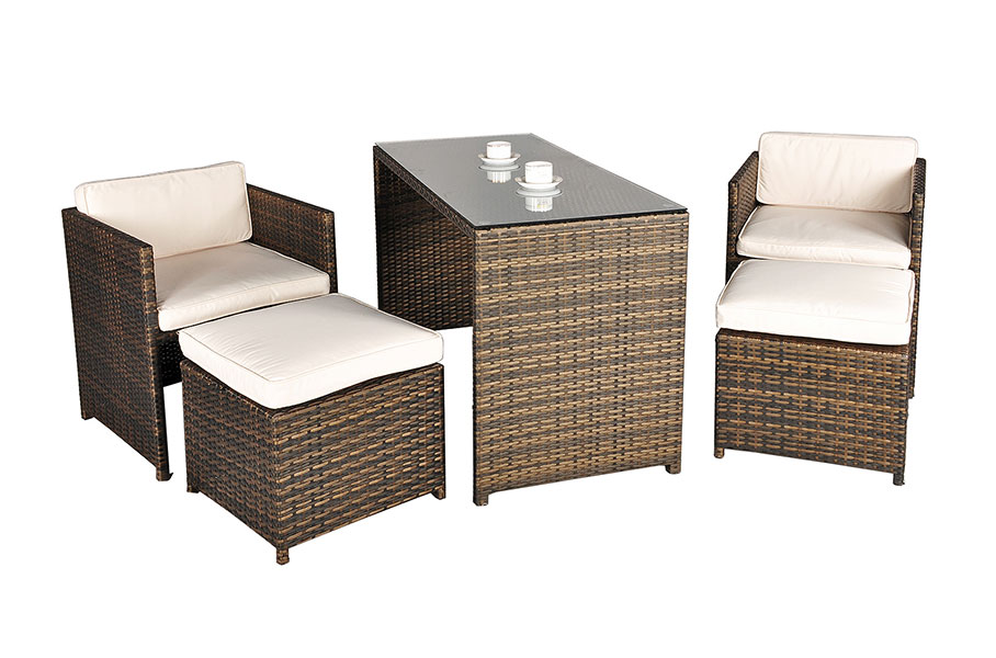 Balcony Rattan 4 Seat Rectangular Dining Set