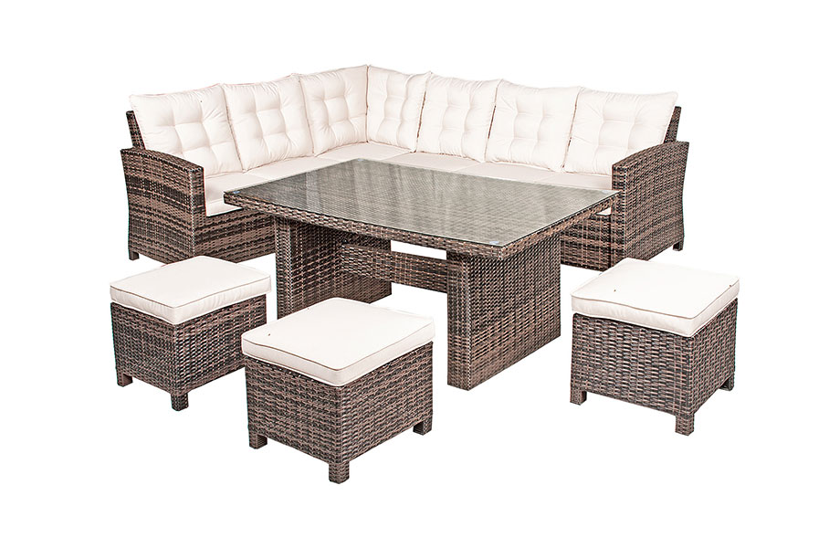 Nevada Rattan Garden Furniture 6 Seat Corner Sofa Glass