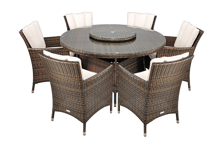 savannah rattan 6 seat round dining table sets