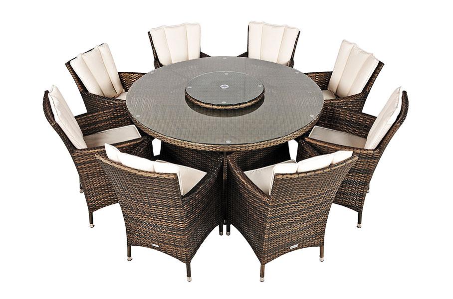 Garden Furniture 8 Seats savannah rattan garden furniture 8 seat round glass top table