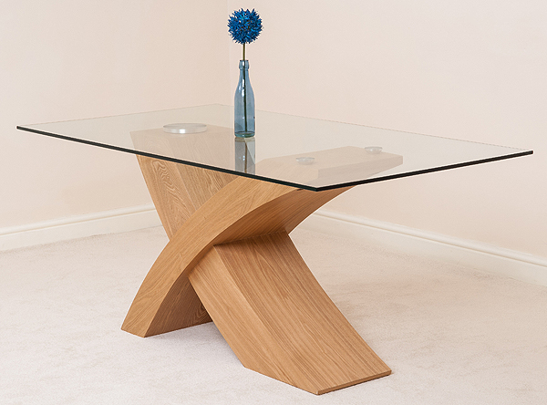 Valencia Small Glass Dining Room Table Wood Cross Leg Style Modern